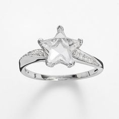 Silver Plate Cubic Zirconia Star Ring
