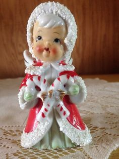 Japan Christmas Angel Figurine Holding Candy Canes Spaghetti Enesco