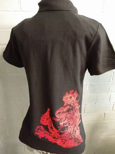 Black polo t-shirts with custom red dragon logo print on the front and back. Looking great for the client.