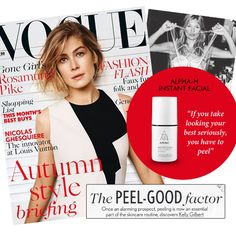 SPOTTED! Yes that was us you saw in Vogue UK! Get the clarity & radiance of microdermabrasion & salon inspired peels in a bottle with our Instant Facial.