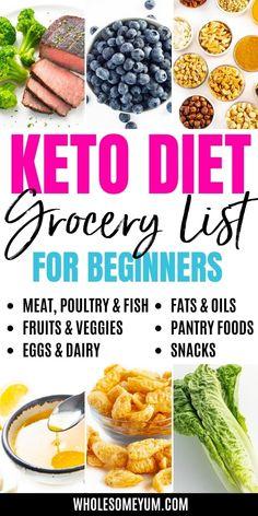 Simple Keto Shopping List (Grocery List) For Beginners | Wholesome Yum Keto Diet Grocery List, Keto Shopping List, Keto Food List, Keto Shrimp Recipes, Ketogenic Recipes, Low Carb Recipes, Ketogenic Diet, Free Recipes, Ketosis Diet Plan