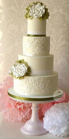 The Bridal Dish says WOW -Roses & lace wedding cake! Cookies, cake, cupcakes for your big day: http://www.thebridaldish.com/vendors/listings/C2