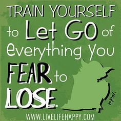 Train yourself to let go of everything you fear to lose. -Yoda