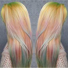 If you're not feeling as daring, try subtle pastel sand art hair. Yellow, orange, green hair.