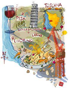 Carlo Stanga - Food map of tuscan coast - La Repubblica  www.carlostanga.com