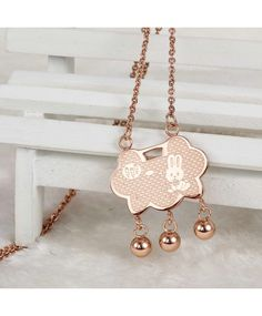 rose gold bunny carrot pattern longevity lock design charm long chain necklace
