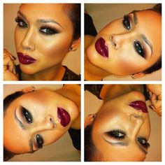 …can't go wrong with a #darklip, minimal #brows and a warm #smokyeye :) I need this lipstick