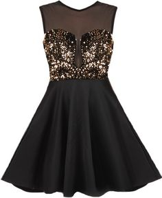 Material Girl Dress: Features a chic mesh bodice with illusion sweetheart neckline, sparkling muted gold sequin bodice, elegant keyhole closure at nape, and a twirl-worthy A-line skirt to finish.
