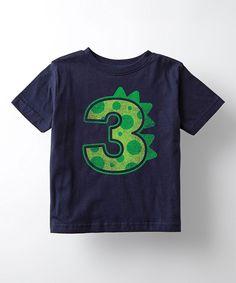 This Navy Dinosaur Birthday '3' Tee - Toddler & Kids by Cotton Jungle is perfect! #zulilyfinds