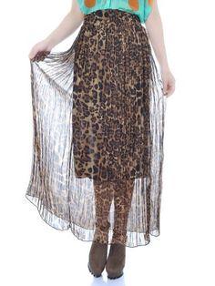 Anna-Kaci S/M Fit Brown Leopard Print Cute Pleated Semi Sheer Chiffon Maxi Skirt Anna-Kaci. $13.00. Save 41% Off!