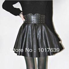 Hot sale 2014 autumn winter New sale Women's Boutique Fashion Punk Rivet PU Leather Skirt € 8,00