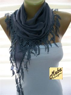 Grey scarf women scarves   fashion scarf  gift by MebaDesign
