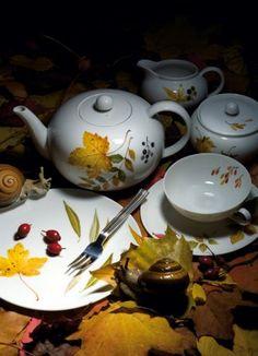 """Teeset """"Indian Summer"""" aus der Porzellanserie Lotus von Nymphenburg. Die Manufaktur ist seit 1761 am Nördlichen Schlossrondell vor dem Schloss Nymphenburg untergebracht."""