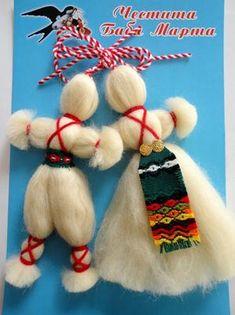 Снимка Christmas Ornaments To Make, Christmas Crafts, Baba Marta, Diy And Crafts, Arts And Crafts, Yarn Dolls, Pressed Flower Art, Lana, Art For Kids