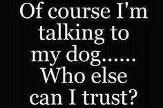 Of course I'm talking to my dog .....  Who else can i trust ???