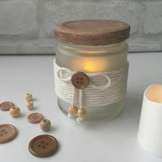Rustic tea light jar, tea light holder, decorated jar, storage jar with lid, kitchen decor, rustic style accessories, votive holder