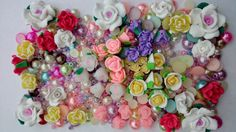 joblot 50 flower flowers beads polymer clay ( free cabochons and seed beads 55g)