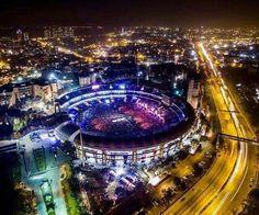 Marine Drive, Mumbai by night, flanked by Wankhede Stadium