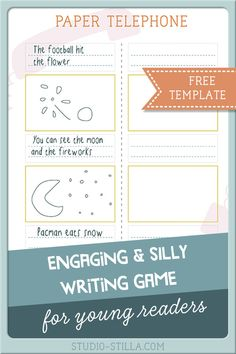 Fun & engaging writing game for kids at primary school: paper telephone! Free printable sheet for writing prompts with a twist, suitable for who are starting to read and write #kidsactivities #learntoread #reading #printable #indoorgames #kidsgames #screenfree  #learntowrite #printablesforkids #travelgames  #familygames #learninggames #studiostilla