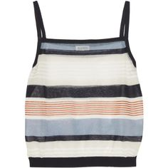 Suno Cropped striped cotton-blend tank (11.700 RUB) ❤ liked on Polyvore featuring tops, ivory, striped tank, white tank, crop top, white crop top and crop tank