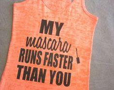 Mascara And Muscles Tank, Womens Fitness Tank Top ,Fitness Burnout Tank Top Womens Crossfit Tank. Fitness Tank  Racerback Workout Tank
