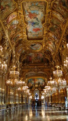 The Grand Foyer in the Palais Garnier was intended to look like the gallery of a classical chateau. In addition, ceilings were painted to show different themes from the history of music.