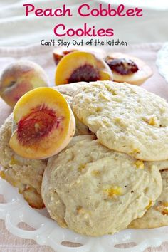 Peach Cobbler Cookies~ Amazing cookies that taste like eating peach cobbler! Grab-and-go breakfast!