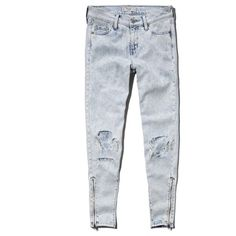 Abercrombie & Fitch Allie Boyfriend Slouch Jeans (115 RON) ❤ liked on Polyvore featuring jeans, pants, bottoms, blue, destroyed acid wash, destructed boyfriend jeans, distressed jeans, slouchy boyfriend jeans, boyfriend fit jeans and acid wash ripped jeans