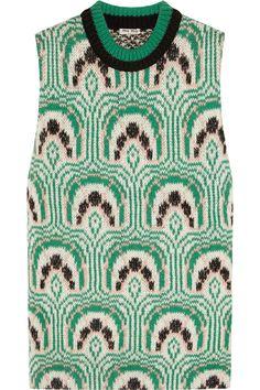 Miu Miu|Intarsia wool-blend top|NET-A-PORTER.COM