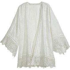 CALYPSO St. Barth Harada Cotton Eyelet Kimono Jacket ($179) ❤ liked on Polyvore featuring outerwear, jackets, tops, cardigans, white, white jacket, eyelet jacket, white cotton jacket, kimono sleeve jacket and light weight jacket
