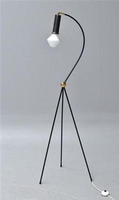 Tapio Wirkkala; Painted Metal and Brass Floor Lamp for  Idmann Oy, 1950s.