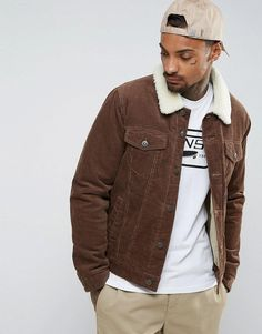 Buy Dark Brown Asos Denim jacket for men at best price. Compare Jackets prices from online stores like Asos - Wossel Global Outfits Hombre, Dope Outfits, Trendy Outfits, Borg Jacket, Shirt Jacket, Latest Mens Fashion, Latest Fashion Clothes, Fashion Online, Brown Denim Jacket