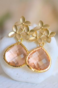 Champagne Drop and Gold Cherry Blossom Post Earrings