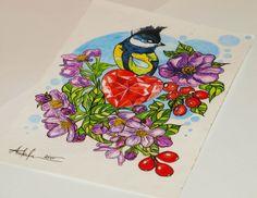 Bird heart flowers tattoo design by @ankafaink