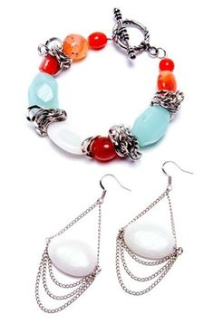 Alexis Orange-Aqua Bracelet and Matching Earrings - This Prima Bead bracelet and earring set was hand designed by our design team. [$0]