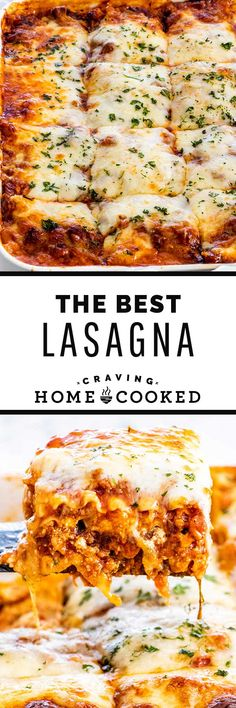 Learn how to make The Best Lasagna complete with a homemade hearty beef and sausage sauce, ricotta, layered with lots of mozzarella and parmesan. With my step-by-step instructions you are guaranteed the perfect lasagna every time! Pasta Dinners, Lunches And Dinners, Pasta Recipes, Dinner Recipes, Cooking Recipes, How To Make Lasagna, Mozzarella, Cunha, Recipes
