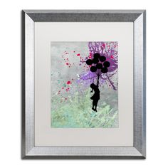 Flying Balloons by Banksy Framed Graphic Art in White