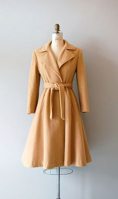 1970s wool trench coat / princess trench / Camel Wool Trench. $138.00, via Etsy.