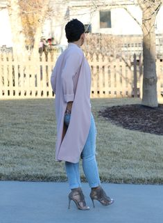 Collarless Duster Jacket + Fringe Heels
