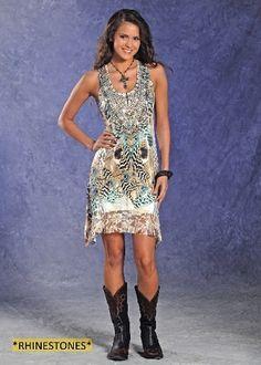 NEW Panhandle Slim Juniors Sleeveless U-Neck Dress w Lace back and Hem detail (Coming Soon): Sierra Western Wear