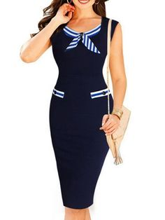Awesome Bowknot Patchwork Striped Bodycon-dress