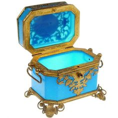 French Toilette Box in Blue Opaline ($3,400) ❤ liked on Polyvore featuring home, home decor, baskets & boxes, blue home accessories, blue home decor and french home decor