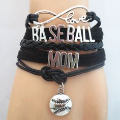 Infinity Love Baseball Mom Bracelet - FREE SHIPPING - Hand Made Leather Strap…
