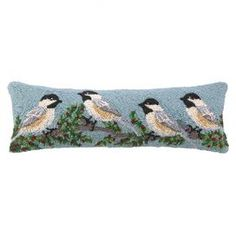 Chickadee Winterberry Pillow
