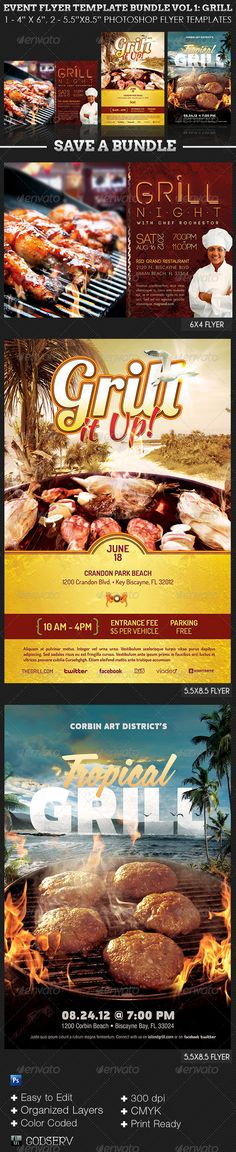 "Barbeque and Grilling Event Flyer Template Bundle #GraphicRiver The Event Flyer Template Bundle Vol 1: Grill, has 3 Distinct Flyer Templates for events that has to do with grilling, barbque, cooking events etc. It will speed up design time, and make meeting last minute deadlines much easier as it increases the pace of the weekly workflow in any fast paced environment. In this package you'll find two 8.5""x5.5"" and a 4""x6"" Photoshop Template File with 4 One-Click Color Options. The templates…"