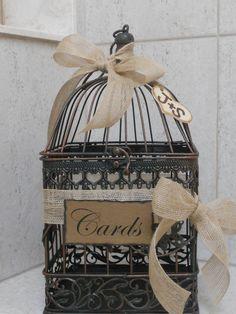 Birdcage Wedding Card Holder / Rustic Burlap Wedding Card Box. $45.00, via Etsy.