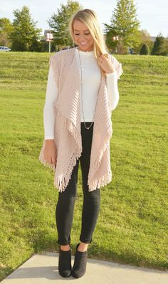Sleeveless cappuccino knit vest -- with draped open front & fringed trim throughout. - Fabulous velvety knit fabric {SUPER SOFT!} (60% Cotton - 40% Polyester) - Our model is pictured wearing the size