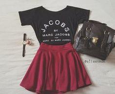 plum circle skirt, graphic tee, vintage watch