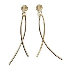 Clip On Earrings, Spiral, Dangles, Elegant, Gold, Women, Classy, Chic, Yellow