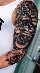 70 female and male lion tattoos Tattoo ideen Female Ideen Lion Male Tattoo Tattoos Tattoos Arm Mann, Tribal Arm Tattoos, Forearm Sleeve Tattoos, Full Sleeve Tattoos, Top Tattoos, Tattoo Sleeve Designs, Tattoo Designs Men, Body Art Tattoos, Male Tattoo
